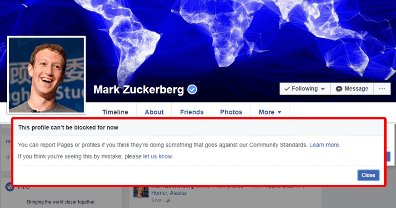 You Can't Block Mark Zuckerberg On Facebook