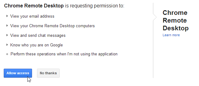 Chrome Remote Access