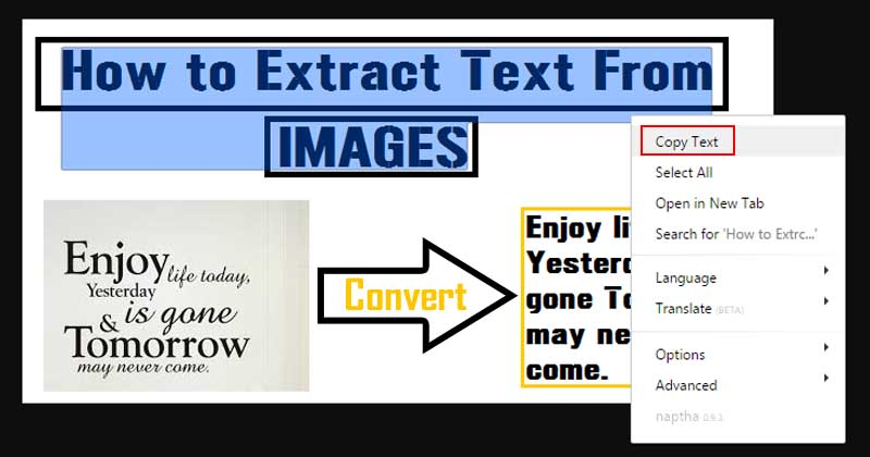 How To Extract And Copy Text From Any Image In PC