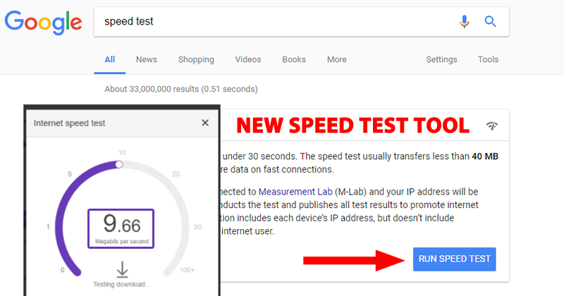 internet speed test by google