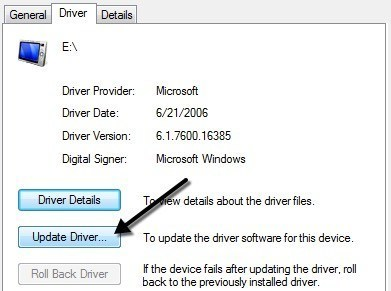 Updating The USB Drivers