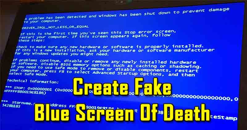 How To Create Fake Blue Screen Of Death In Windows