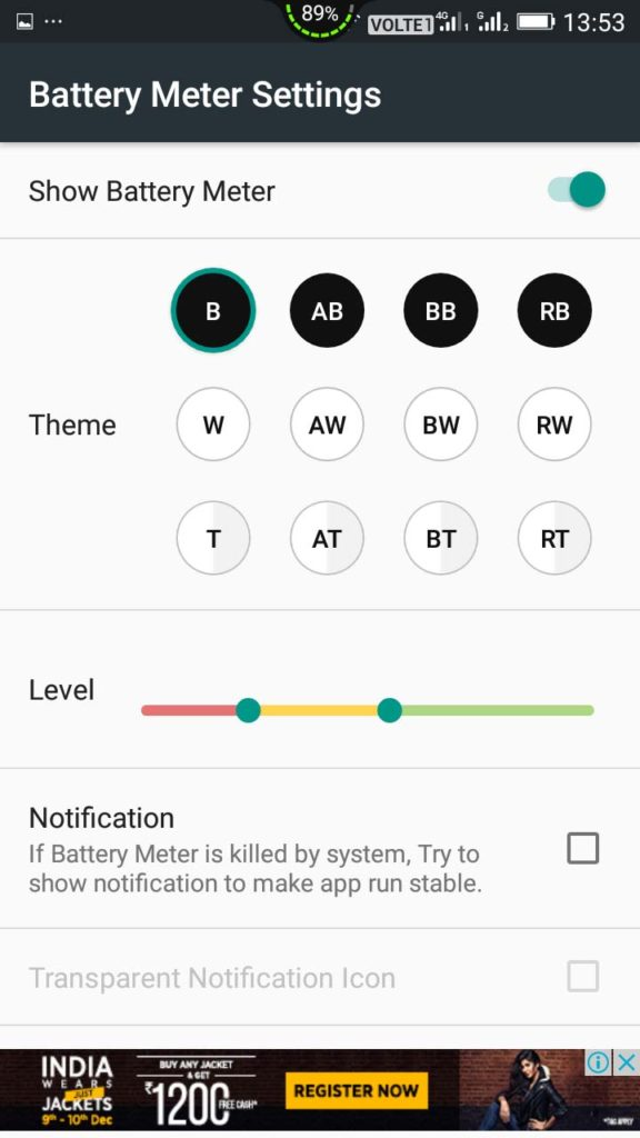 How To Add Battery Meter Overlay On Top Of Your Android Screen