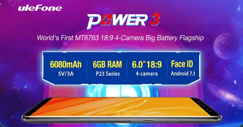 Ulefone Power 3 - 6,080mAh Battery, 6GB RAM, Face ID