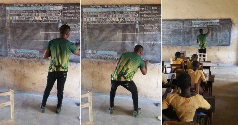 Remember The Ghana Teacher Who Taught MS Word On Blackboard? Microsoft Donated Him Computers!