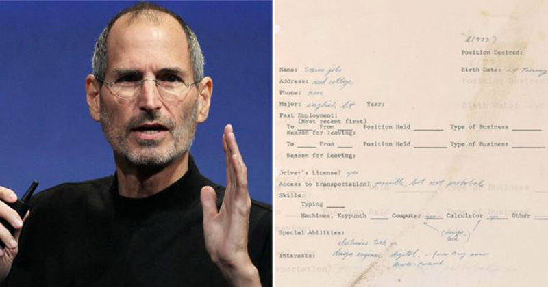 Read Steve Jobs' 1973 Job Application Written 3 Years Before He Founded Apple